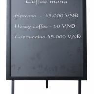 Bảng Menu cà phê 1 mặt khung gỗ có chân