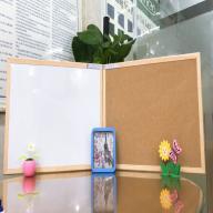 Bảng treo tường 2 mặt viết bút lông cao cấp và ghim bần khung gỗ